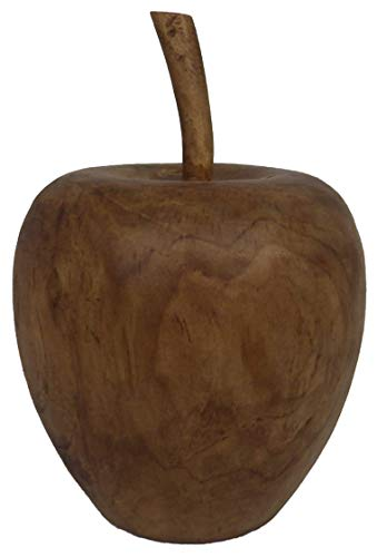 Apfel mit Stiel aus Teakholz ca.Höhe 17 cm hoch Deko Unikat Handarbeit Holz