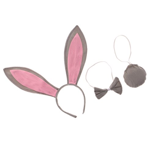 sharprepublic 3 / Set Mädchen Kinder Cute Bunny Rabbit Kostüm Set School Animal Party Dress Up - Grau (Cute Animals Kostüm)