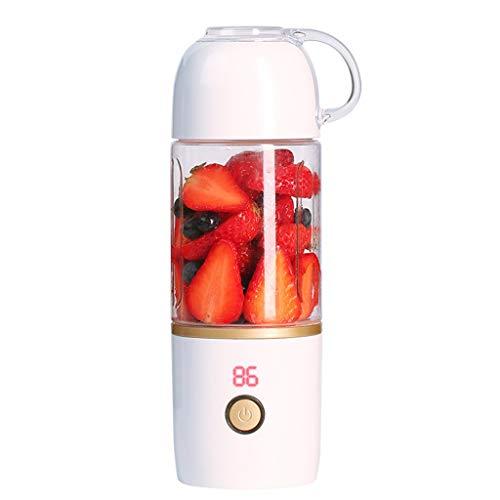 Yncc Akku Mixer Flasche 400ML Tragbar Smoothie Maker USB Für Eis, Milchshake, Obst Juicer Cup Mini Entsafter Blender Für Reise/Sport Standmixer/Entsafter Cup & Bottle/Fruit Mixer/Tote Tasse (Weiß)