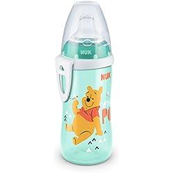 NUK Active Cup Disney Winnie 300ml con boquilla de silicona a partir de 12meses, antigoteo con clip, sin BPA) verde verde