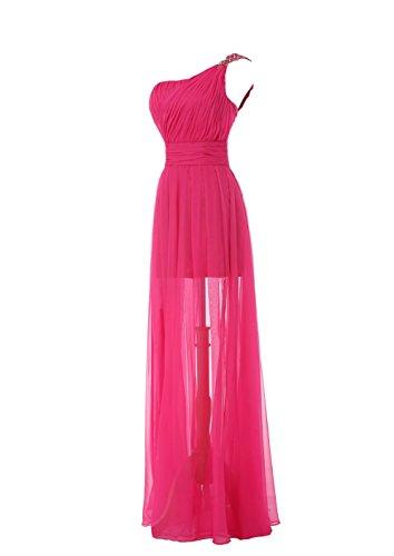 YiYaDawn Langes One-Shoulder Kleid Ballkleid Partykleid für Damen Dunkelblau