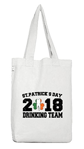 Irland St. Patrick's Day Jutebeutel Stoffbeutel Earth Positive St. Patrick Drinking Team 2018 White