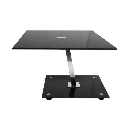 Premier Housewares 2402213 Table d'Appoint en Verre Trempé Noir et Jambes Chromé