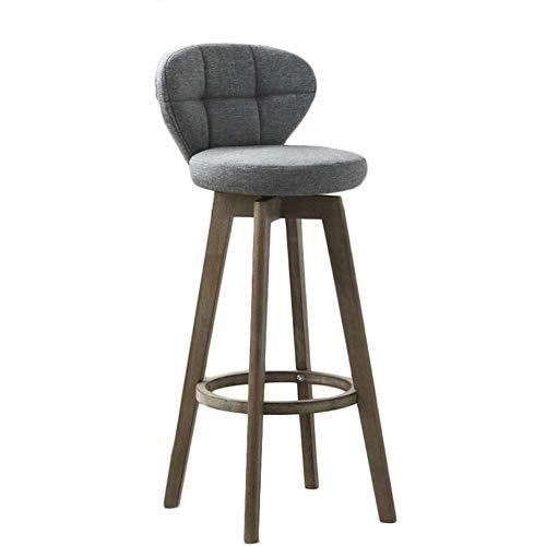 Barhocker aus Holz, Retro Barhocker mit Rückenlehne Gepolstert Stoffsitz Drehbarer Barhocker der Küche, Verfügbar in 56/66/76 cm Höhe (Farbe : Gray, größe : 66cm) -