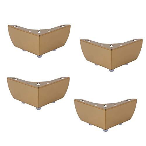 Furniture legs 4 STÜCKE Europäische Metall Möbelfüße - Niedriges Sofa Couchtisch Stützfüße - Goldfarbe Edelstahl Kabinettfüße - Mit Schrauben Mehrzweck 55mm/2.1in (Gold Mini-kuchen-sockel)