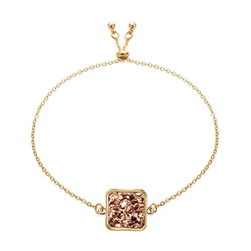 14 x 14 mm Gold Charming Trendy Armreifen für Frauen Kristall Stein Metall Kette zierlich Kostüm Armreifen Schmuck, metall, Gold 3, - Kostüm Für Zierliche Frauen