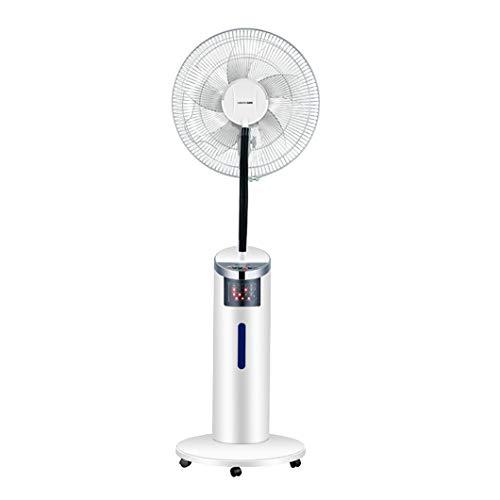 SYTH Oszillierender Nebel Ventilator - Luftbefeuchter - mit Fernbedienung, digitaler 7,5-Stunden-Timer, Standventilator mit 3 Geschwindigkeiten und 3 Modi, für den Home Außenbereich, Weiß