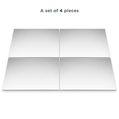 Ecooe 4 Stück Acrylic Spiegelfliesen Wandspiegel Spiegelfolie selbstklebend Spiegelkachel 11.8 x 11.8 Zoll Reflektierende Aufkleber Fliesen Acrylic Square DIY Wanddekoration Wandspiegel fü (Acrylic Spiegelfliesen Wandspiegel)
