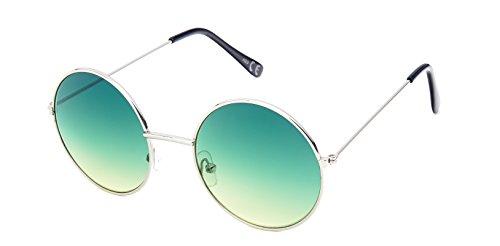 Chic-Net Sonnenbrille Round Glasses John-Lennon-Style 400 UV Metall Getönt Langer Steg (Dunkelgrün-Grün)