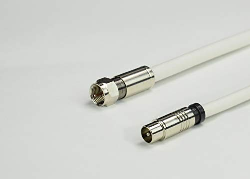 StilBest 15m Sat Anschluss Kabel F-Stecker - Koax Stecker Silber Antennenkabel 5 Fach geschirmt Koaxialkabel 135db Abschirmmaß 75 Ohm Satellitenkabel für Ultra HD 4K, 3D, Full HD, HDTV, DVB-T, Weiß 3d Full Hdtv