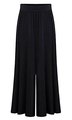 FEOYA Damen lose weites Bein Hose elastische Taille Modal Culottes Leicht Weich-Gefühl Sommer Hosenrock Schwarz - M