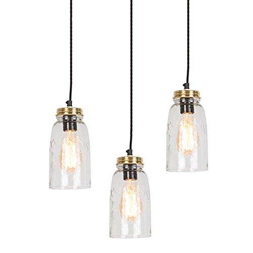 QAZQA Art Deco 3-flammiger-Set Vintage Pendelleuchte/Pendellampe/Hängelampe/Lampe/Leuchten Gold/Messing mit Klarglas - Masons/Innenbeleuchtung/Wohnzimmerlampe/Schlafzimmer/Küche/Me (3 Klarglas Pendelleuchte)
