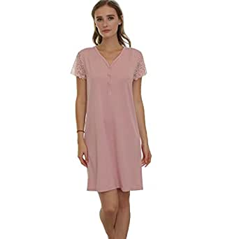 9e337da69e Ladies Short Sleeve Nightgown Bamboo Fiber Sleepwear Soft Nightdress ...