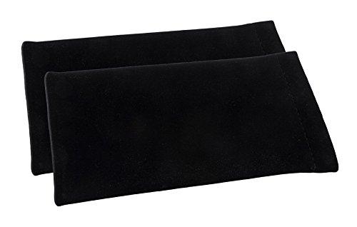 Einsteck-Brillenetui im Zweierpack - Einstecketui mit Schnappsverschluss in Velour (1x Schwarz + 1x Schwarz)