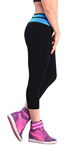 iLoveSIA® Leggings de sport Femme- Pantalons Capri Jogging YOGA Collants (Liquidation totale) 1085 Noir+Bleu