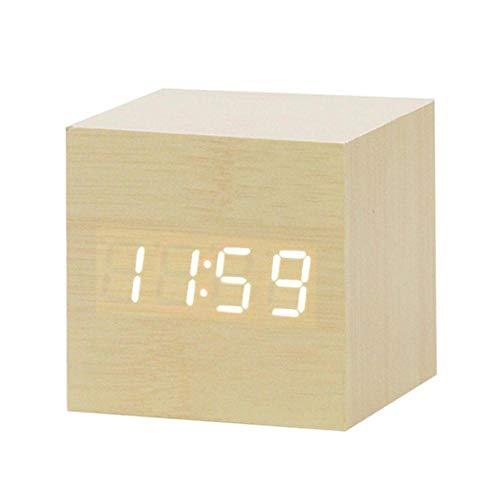 HJCWL 1 Piezas LED Reloj Despertador de Madera Reloj de Mesa ...