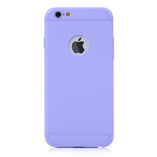 YOKIRIN Coque iPhone 6 4.7 Pouces Housse Étui TPU Silicone Souple Découp du Logo Phone Case Cover Ultra Mince Gel Slim Personnalité Pratique - Noir + Violet Menthe Vert + Violet