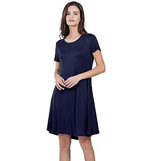 Gofodn Dresses for Women Ladies Summer Solid Plus Size Casual Short Sleeve Loose Pocket Mini Swing Dress Sundress Blue