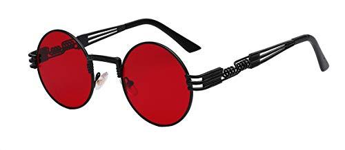 DYFDHA Sonnenbrillen Luxury Metal Sunglasses Men Round Sunglass Steampunk Coating Glasses Vintage Retro Lentes Oculos Of Male Sun Black w sea red lens