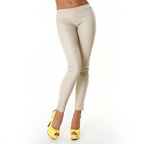 Jela London Damen schicke Leggings in glänzender Lederoptik Braun