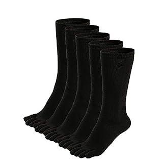 Zehensocken Herren Baumwolle Fünf Finger Socken Männer Socken mit Zehen für Sport Laufende, EU 39-45, 3/5 Paare
