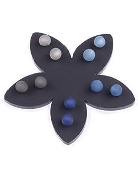 5 Paar Polaris Ohrstecker 6mm dunkelblau grau auf schwarzer Blume