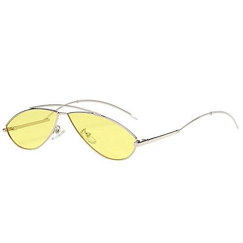 YEZIJIN Unisex Sonnenbrille mit Katzenaugen, unregelmäßig, oval, Vintage, Retro, Brille Free Size g