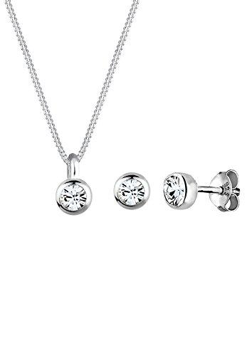 Elli Damen Schmuck Schmuckset Halskette + Ohrringe Klassisch Elegant Basic Silber 925 Swarovski® Kristalle Weiß Länge 45 cm
