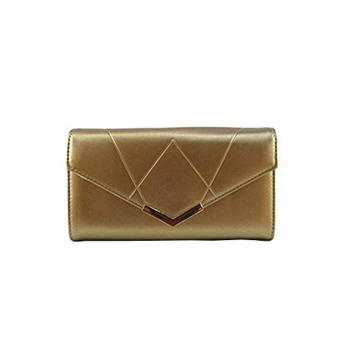Haute für Diva S Neu Damen Kunstleder Gold Pfeil Punkt Reißverschlusstasche Foto Fenster große Handtasche - Gold, Large Gold