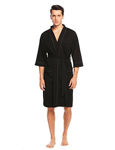 Untlet Herren Bademantel Baumwolle Morgenmantel Nachtwäsche Lang Saunamantel mit Taschen und Bindegürtel, Schwarz 725, EU 38(Herstellergröße: M) (Kleidungsstück Komfort Farben 100%)