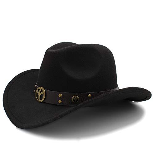 XIANGBAO-Hat 2018 Mode Winter Cowboyhut Wildleder Look Wild West Kostüm Herren Damen Cowgirl Unisex Hut Roll-up Hut (Farbe : Schwarz, Größe : 56-58cm)