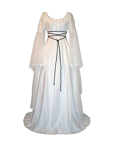 Abbigliamento da donna medievale a maniche lunghe girocollo costume cosplay di halloween abito vintage bianco s