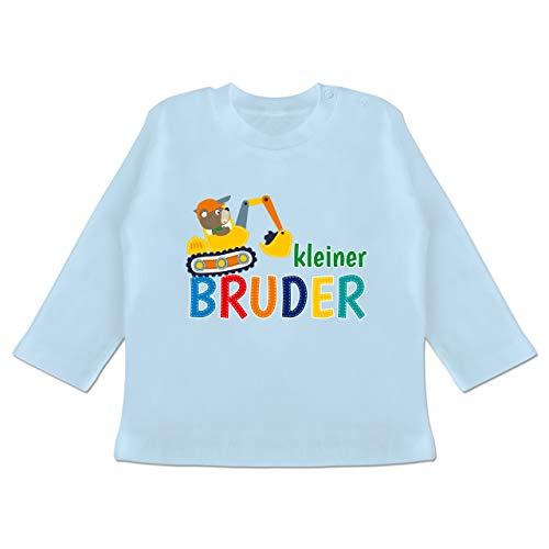 Geschwisterliebe Baby - Kleiner Bruder Bagger - 3-6 Monate - Babyblau - BZ11 - Baby T-Shirt Langarm