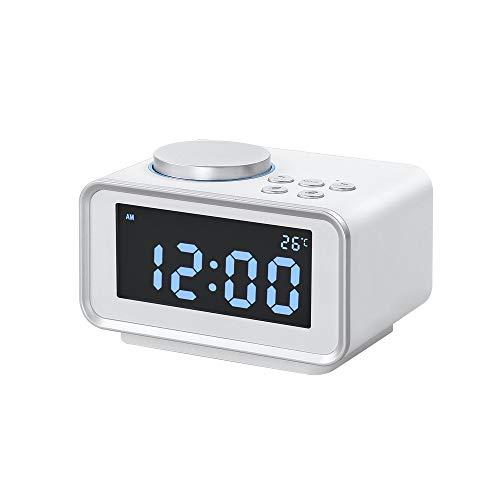 ZHEstrW Radiowecker, Dual-USB-Aufladung, 12/24 Stunden umschaltbar, Snooze-Funktion, einstellbare Hintergrundbeleuchtung, für elektronischen Hotel-Wecker im Bedside Hotelzimmer,White