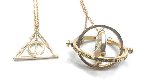 Katessen Reloj Colgante de Metal Collar Reloj de la Muerte Hermione Granger Harry Potter (dúo de Oro)