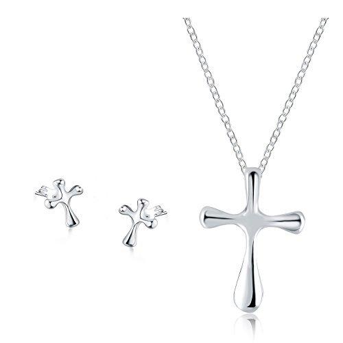 bba24e0642df Publicado el 16 4 2019Juego de Joyas - 925 plata esterlina plateado  conjunto colgante de collar y pendientes religioso cruzado católico para  mujer ...