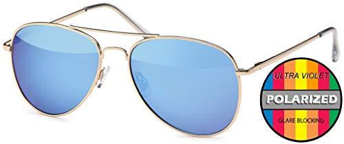 Hatstar Polarisierte Pilotenbrille Verspiegelt Fliegerbrille Sonnenbrille Pornobrille Brille mit Federscharnier (54 Polarisiert | Rahmen Gold - Blau verspiegelt)