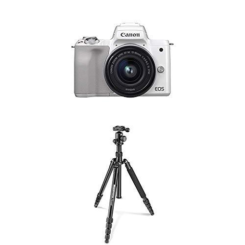 Canon EOS M50 weiß EF-M 15-45 Kit + Manfrotto Element Traveller Aluminium Kit (groß, verwandelbar in ein Einbeinstativ, inkl. Tragetasche und Spikes, geeignet für Arca Swiss) schwarz (Canon Tragetasche)