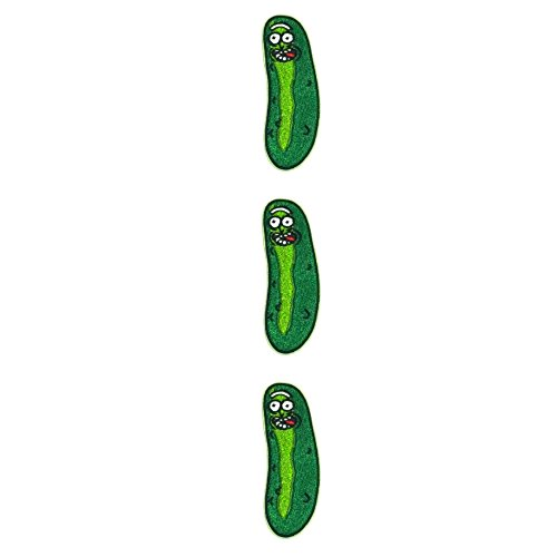 assic Cartoon Network Rick The Pickle Cosplay Badge Embroidered Sew-On or Sew-On Patch Pack of 3 Gift Set ()