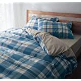 Imperial Home Collection Duvet Cotton Blue And White Cover With 2 Pillow Cases 90 X 100 Inches