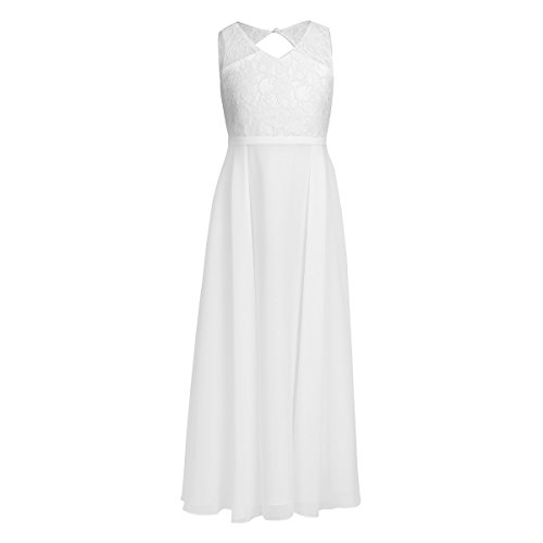 YiZYiF V Neck Lace Chiffon Flower Girl Backless Summer Princess Wedding Dance Prom Gown Party Dress