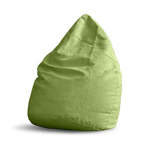 Lumaland Beanbag PUF otomano sillón Niño Puff Lujo XL Comfortline 120 lt Costuras reforzadas Verde