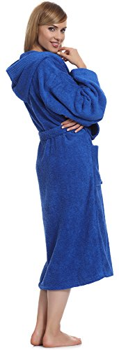 Ladeheid Damen Frottee Bademantel aus 100% Baumwolle LA40-102 Blau (D14)