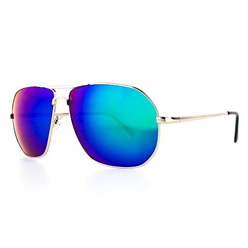 Distressed Pilotenbrille eckig im Aviator Stil Unisex silber-blau/gruen-verspiegelt