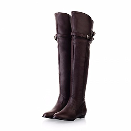 brown the boots flat Europe Over boots belt buckle knee boots Knight size 147HHqPdxw