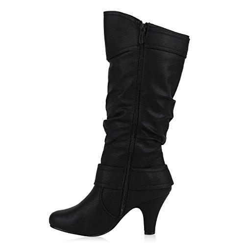 Elegante Damen Stiefel Warm Gefütterte Winter Boots Schuhe Schwarz