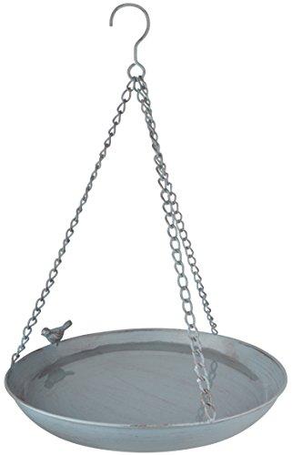 "Esschert Design Grey Metal Vogeltränke, hängend, aus dem Material \""Metall\"", 30,4 x 30,4 x 5,8 cm"