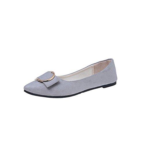 Schuhe Damen Stiefel SUNNSEAN Mode Einzelne Schuhe Mode Frauen Wildleder Gürtelschnalle Flache Ferse Spitz Freizeitschuhe Erbsenschuhe Boots