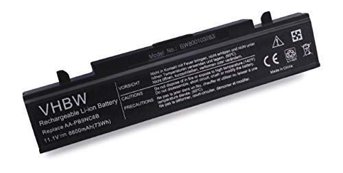 vhbw Li-ION Batterie 6600mAh (11.1V) Noir pour Laptop, Notebook Samsung RV515 S02, RV515 S03, RV515 S04 comme AA-PB9NC6B, AA-PB9NC6W, AA-PB9NS6B.