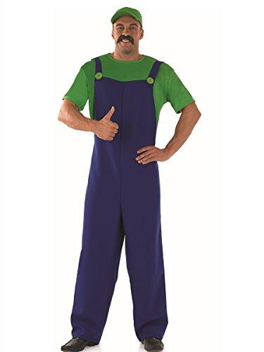 Fancy Me Herren Erwachsene Super Mario oder Luigi Brothers 1980s Jahre 80s Jahre Klempner Kostüm Kleid Outfit - Grün, ()